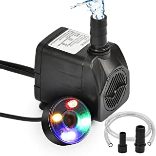 ATPWONZ 10Watt Submersible Water Fountain Pump with LED Light for Water Feature, Aquarium Fish Tanks, Outdoor Pond, Small ...