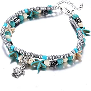 Stylish Sea Beach Foot Anklets Bracelet with Blue Starfish, Multi-Layer Turtle Charm Beads Handmade Starfish Anklet, Foot Jewelry Gifts for Women