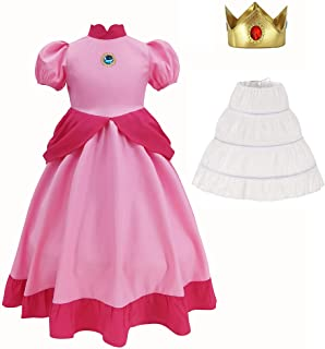 Super Brothers Princess Peach Costume With Crown For Kids Girls Halloween Party Dress Up