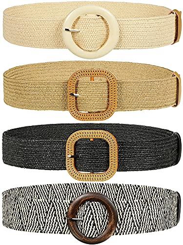 Geyoga 4 Cinturones Elásticos de Tejido de Cintura con Hebilla para Mujer, 4 Estilos