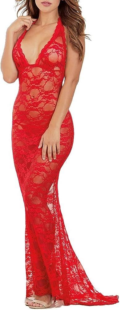 Shangrui, vestito lungo sexy per donna, con profondo scollo a V, in pizzo, rosso FZSCCW5003