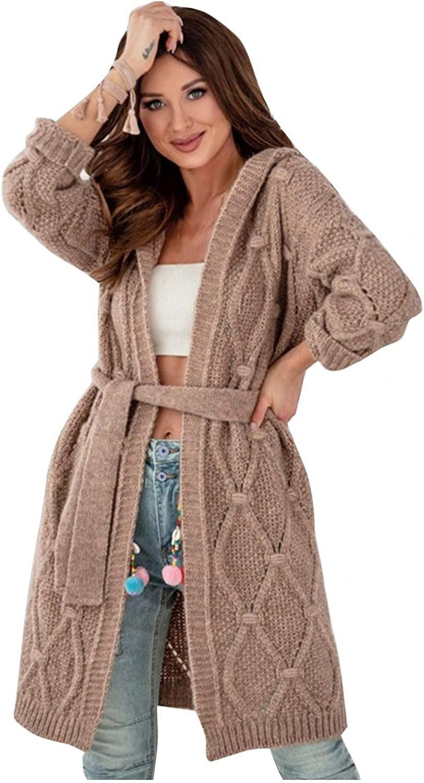 Women Winter Solid Hooded Open Front Cardigan Knitted Outwear with Belt Coat Jacket