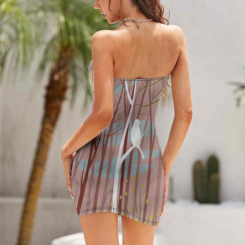 Women's Summer Strapless Dresses Bird on Leafless Branch Dresses