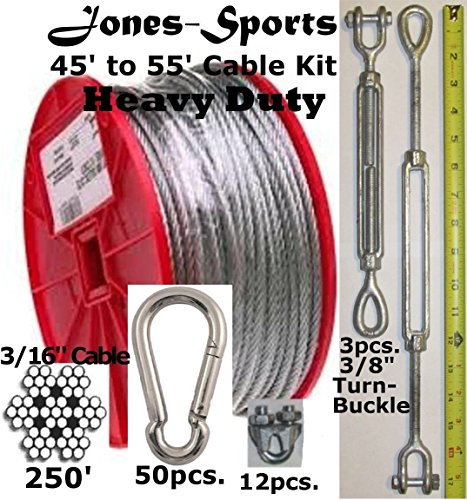 """Heavy Duty 55' Indoor/Outdoor Cable Kit for Baseball Softball Batting Cage Net with 3/8"""" turnbuckle, 3/16"""" cable clamps, and zinc carabiners"""