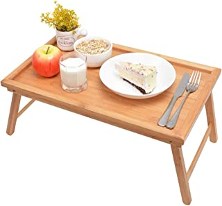 ZHUOYUE Bamboo Bed Tray with Folding Legs, Lap Tray with Lipped Tabletop Great for Breakfast in Bed or Dinner by The TV, Use As Lap Drawing Table or Eating Tray