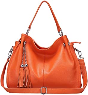 Handbag-New Leather Women's Bag Casual Fringe Coat Bag Tote Bag Shoulder Bag Messenger Bag Lady Bag, Black/Blue/Orange/Red/Yellow The most beautiful accessories (Color : Orange)
