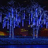 MAOYUE Meteor Shower Lights, 16 Tubes 640 LED Icicle Lights Outdoor Christmas Decorations, Waterproof Cascading Lights for Wedding Christmas Tree Decoration (Blue)
