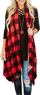 Ivay Womens Plaid Open Front Cardigan Sleeveless Drape Lightweight Vest Coat with Pockets