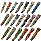 Akstore 20PCS Set Arts Fake Temporary Tattoo Arm Sunscreen Sleeves Designs Tiger, Crown Heart, Skull, Tribal and Etc