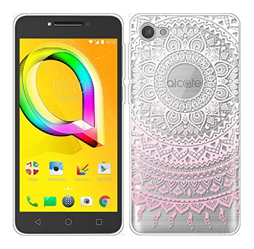 Sunrive Alcatel A5 Led Hülle Silikon, Transparent Handyhülle Schutzhülle Etui Case Backcover für Alcatel A5 Led(TPU Blume rosa)+Gratis Universal Eingabestift