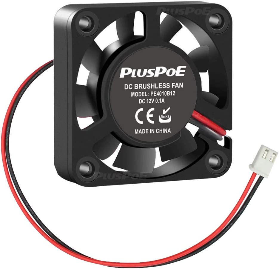 PLUSPOE 40mm x 10mm DC 12V Brushless Cooling Fan, Dual Ball Bearing for Computer case 3D Printer Humidifier and Other Small Appliances Series Repair Replacement