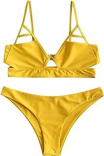 Cut Out Bralette Triangle Cami Bikini Set