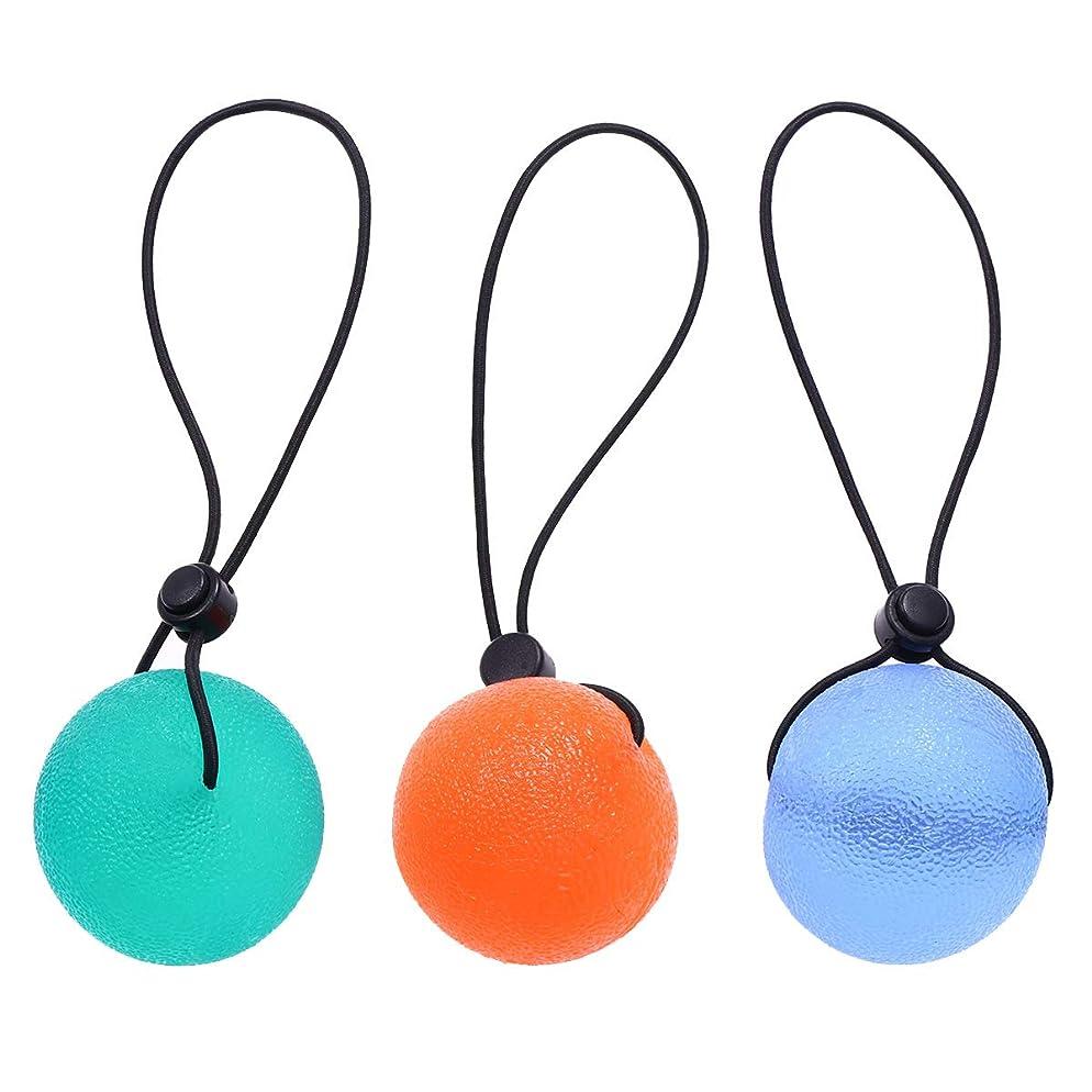 著者分散歩道HEALLILY 3個ハンドセラピー運動ボールグリップ強化剤指グリップボールと文字列