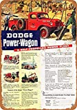Jeremy Mann Nice Tin Sign Metal Sign 1946 Dodge Power-Wagon Vintage Look 8x12