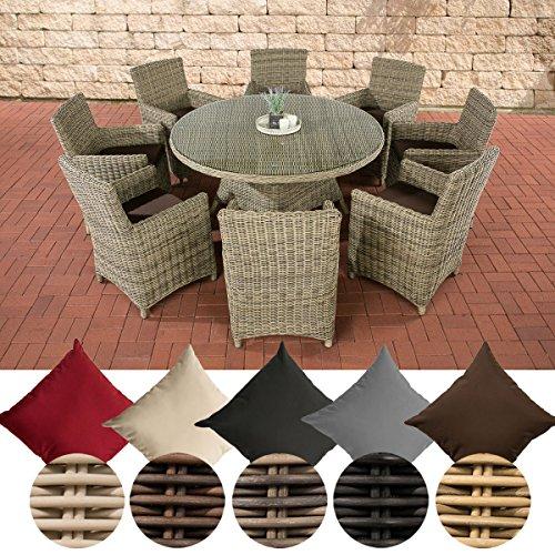 CLP Gartengarnitur LARINO XL | Sitzgruppe mit 8 Sitzplätzen | Gartenmöbel-Set aus Polyrattan | Pflegeleichte Gartenmöbel mit Aluminium-Untergestell erhältlich terrabraun, Natura