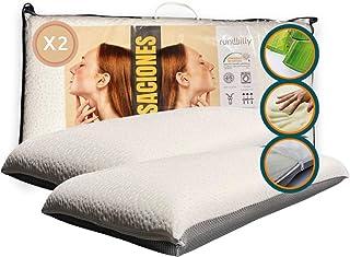 Lot de 2 oreillers viscoélastiques Premium (hiver/été) de 70 cm • 100 % respirants • indéformable • anti-acariens • antiba...