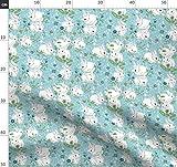 Blaue Blumen, Kaninchen, Frühling, Ostern, Hasen Stoffe -