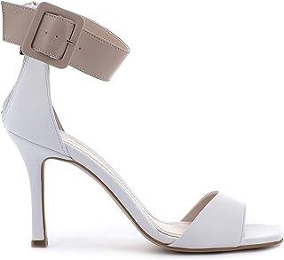 Pierfrancesco Vincenti Sandali in Pelle con Tacco e Cerniera Posteriore - Scarpe Donna Made in Italy Colore Bianco
