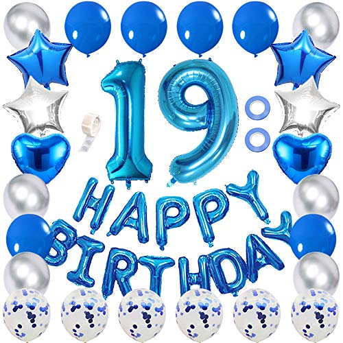 Ceqiny 19th Birthday Decoration Happy Birthday Banner Balloon Set Blue Number 19 Balloons Blue Confetti Balloons Latex Balloons Blue Silver Star Heart Foil Balloon Party Supplies for Girls Boys