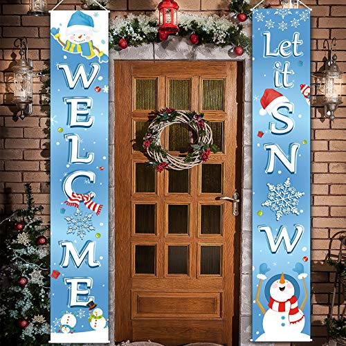 Christmas Decoration Set Christmas Porch Sign Welcome Merry Christmas Banner Christmas Hanging Garland for Frozen Winter Wonderland Party Decoration Xmas Winter Snow Party (Light Blue)