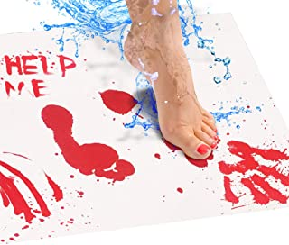 Bloody Bath Mat – Color Changing Bath Mat Sheet Turns Red When Wet – Make Your Own Bleeding Footprints That Disappear Whit...