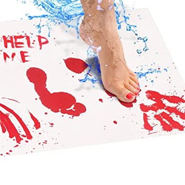 Bloody Bath Mat – Color Changing Mat Really Turns Red When Wet, Dries White – Horror Gifts for Her – Includes (2) 25x39in Large Floor Mats