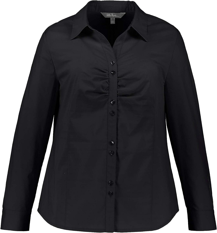Ulla New product type Popken Women's Plus Size Front favorite Shirt Black Stretch Gathered