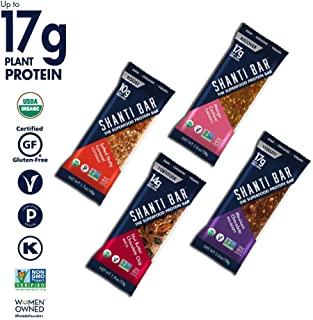 SHANTI BAR Vegan Organic Superfood Protein Bar | 10g-17g Plant Based Protein | Raw Paleo Gluten Free Snack Bars | Performance Nutrition | Variety Bestsellers, 12 BARS