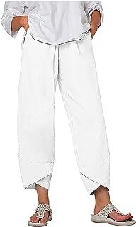 Messigaot Womens Boho Cotton Linen Pants Cropped Harem Trousers Elastic Waist Sweatpants with Pockets