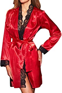 iTLOTL Women Sexy Long Silk Kimono Dressing Gown Babydoll Lace Lingerie Bath Robe