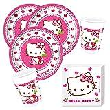 Procos Juego de 36 piezas para fiesta de Hello Kitty, platos, vasos y servilletas para 8 niños.