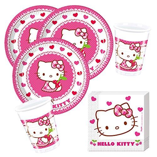 Procos 36- teiliges Party-Set Hello Kitty Teller Becher Servietten für 8 Kinder