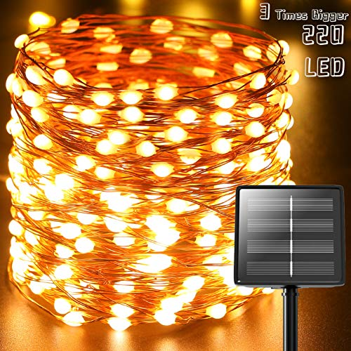 (Ultra-Bright) Starbright Solar Led String Lights,Kolpop 73ft 220 LED (Upgraded Oversize Lamp Bead)Solar Fairy Lights Outdoor Waterproof 8 Modes for Christmas Tree Home Garden Party Patio Warm White