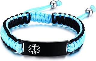 PJ Jewelry Free Custom Engraving Unisex Handmade Rope Braided Emergency Medic Alert ID Tag Bracelet,Adjustable