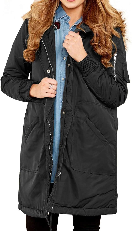Ytwysj Women Winter Faux Fur Trim Hooded Longline Coat Collar Zip Up Quilted Jacket Coat Outerwear