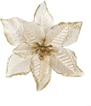 Fnbgl Christmas Glitter Poinsettia 10pcs Christmas Tree Ornament Artificial Wedding Christmas Flowers Wreaths Wedding Ornaments (Gold)