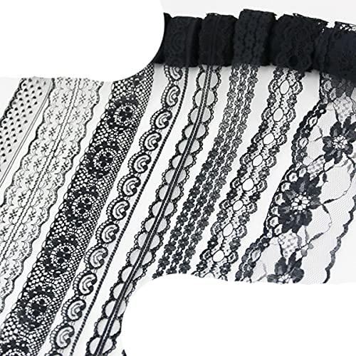 (10 yardas/rollo) Cinta de tela de encaje negro Decoración de correas Material de embalaje de regalo encantador-10 mezcla de encaje