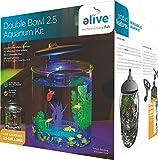 Elive Double Bowl Aquarium Kit, 2.5 Gallon Betta Aquarium with Filter and Fish Tank LED Track Light