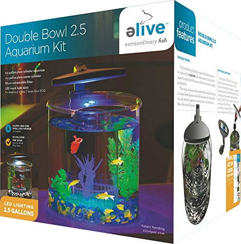 Elive Double Bowl Aquarium Kit, 2.5 Gallon Betta Aquarium with Filter and Fish Tank LED Track Light