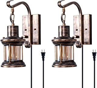 Rustic Wall Light, 2-in-1 Oil Rubbed Bronze Vintage Wall Light Fixtures Hardwired Plug in..