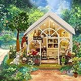 CUOOU Sonnenschein Gewächshaus Blumenladen DIY Puppenhaus Miniatur Möbel Puppenhaus Holz...