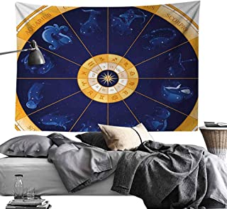 Modern Tapestry, Astrology,Natal Birth Chart Zodiac Horoscope Signs in Wheel Shape with Dots Stars,Blue White and Gold Wall Hanging for Dorm Living Room Bedroom60 x60