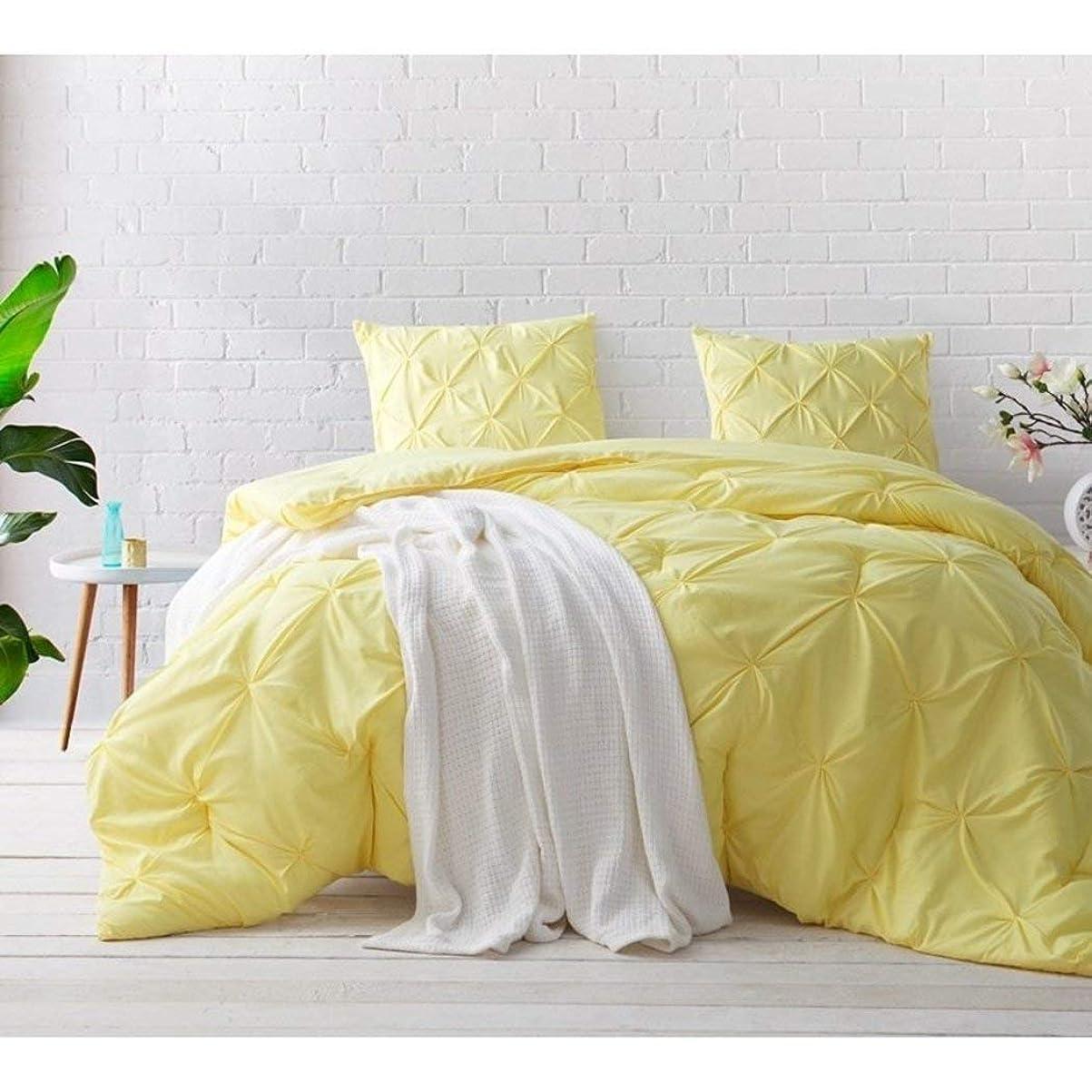 オール代わりにを立てる勃起3?PieceイエローピンチプリーツComforter Fullセット、美しいPlush Pinched Pleat寝具、シックピンタックダイヤモンドTufted Textured、ピンTuck Puckeredテクスチャテーマパターン、Sunshineライトベビーパステル