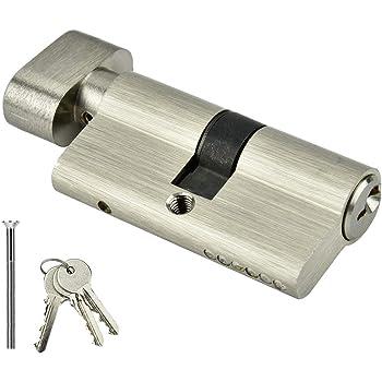 elemento sostitutivo resistente al trapano HomeSecure Serratura per porta a cilindro europeo disponibile in ottone e nichel con manopola fissa