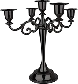 AOSTON 5-Candle Metal Candelabra,10.24 Inch Tall Candle Holder, Classic Elegant Black Mirrored Finish Design Candlestick Stand, Wedding Event and Party Candle Stick (Black)