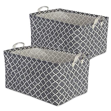 DII Cotton/Polyester Cube Laundry Basket, Perfect In Your Bedroom, Nursery, Dorm, Closet, 10.5 x 17.5 x 10 , Large Set of 2 - Gray Lattice