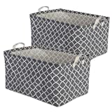 DII Cotton/Polyester Cube Laundry Basket, Perfect In Your Bedroom, Nursery, Dorm, Closet, 10.5 x 17.5 x 10', Large Set of 2 - Gray Lattice