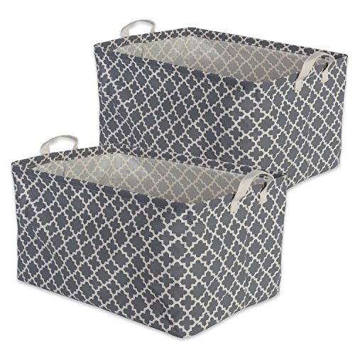 DII Cotton/Polyester Cube Laundry Basket Perfect In Your Bedroom Nursery Dorm Closet 125 x 18 x 105quot XL Set of 2  Gray Lattice