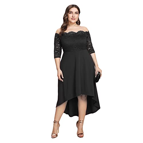 1d46b26476e GMHO Women s Plus Size Floral Lace Off-The-Shoulder Cocktail Formal Swing  Dress