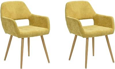 Lot de 2 Fauteuil scandinave, revêtement en tissu jaune et pied en métal imitation bois, Chaise de Bureau Ergonomique, Chaise de Salle à Manger Capitonnée